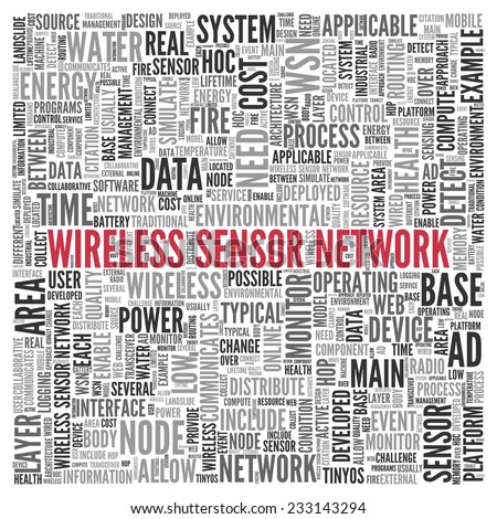 Close up Red WIRELESS SENSOR NETWORK Text at the Center of Word Tag Cloud on White Background.
