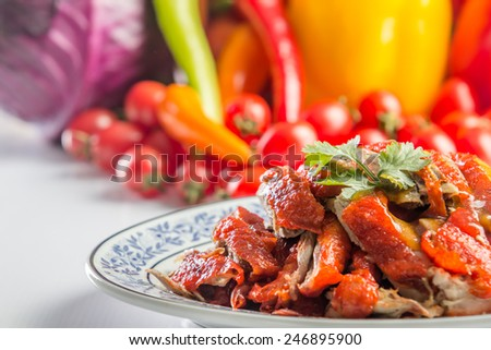 close up roast duck for chinese food - stock photo