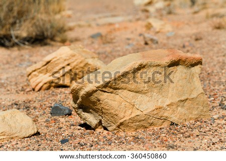 Close up Rock in stone desert at Valley of Fire State Park, Nevada, USA, focus on the left side of rock - stock photo