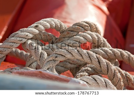 Close up rope in the lifeboat.