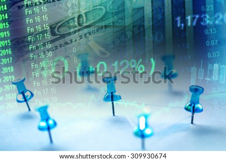 Close up row of pin on pentagram. Finance concept. - stock photo