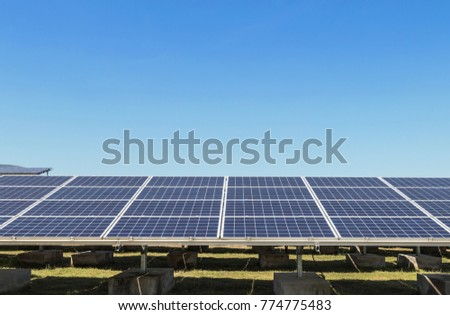 Close up rows array of polycrystalline silicon solar cells in solar power plant turn up skyward absorb the sunlight from the sun use light energy to generate electricity on blue sky