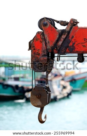 Close up rust of old crane slings in the dock on white sky - stock photo