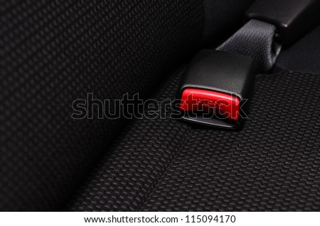 close up safety belt in a car - stock photo