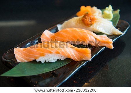 Close up salmon sushi and engawa sushi