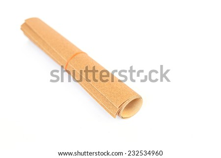 Close up sandpaper isolated on white background