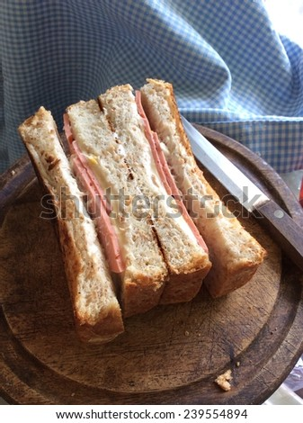 close up sandwich with ham and cheese - stock photo