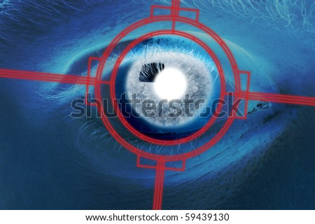 Close-up scan of blue eyeball - stock photo