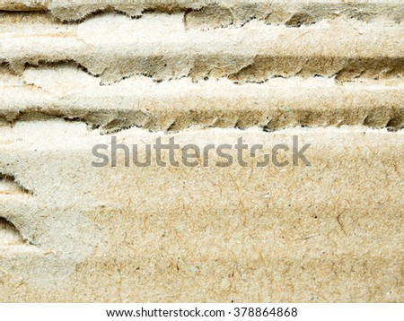 close up scratch  brown corrugated cardboard, abstract background and texture - stock photo