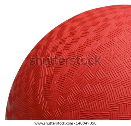 Close up Section of Red Dodge Ball Isolated on White Background. - stock photo