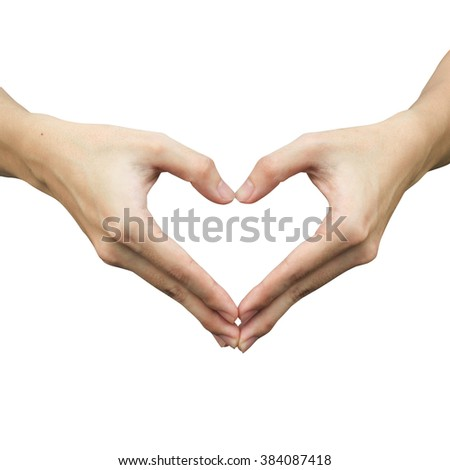 close up/selective focus on man hands make heart isolated on white background at :shallow man hand making heart-shape for showing healthy life:happy good healthy concept.