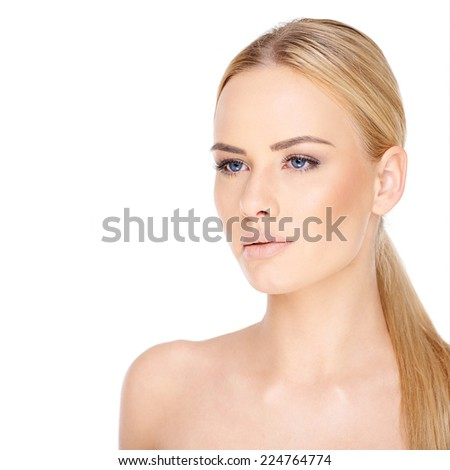 Close up Sensual Bare Blond Woman in Ponytail Hair. Isolated on White Background. - stock photo