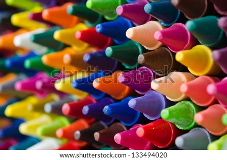 close up set of crayons and mix color - stock photo