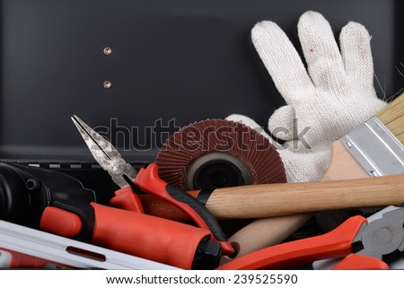 close up, set of tools on toolbox - stock photo