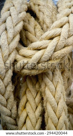 Close-up ship rope texture - stock photo