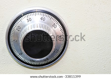 Close up shot classic combination lock dial