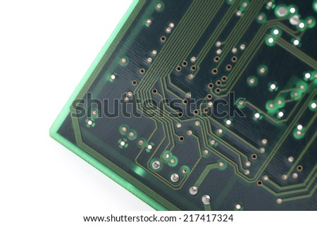 Close up shot of a computer circuit board.