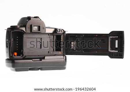 Close up shot of a film camera. - stock photo