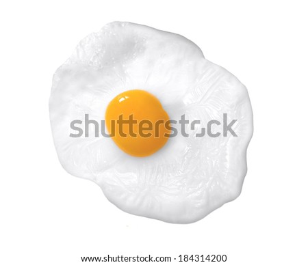 close up shot of a fried egg - stock photo