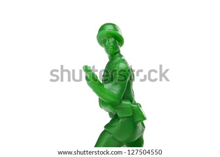 Close-up shot of a green toy army - stock photo