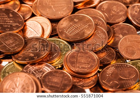 close up shot of a heap of euro cent coins of different denominations