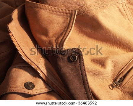 close up shot of a leather man coat - stock photo