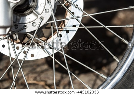 close-up shot of a motorcycle wheel