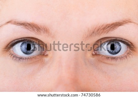 close up shot of a pair of womans eyes with shallow DOF - stock photo