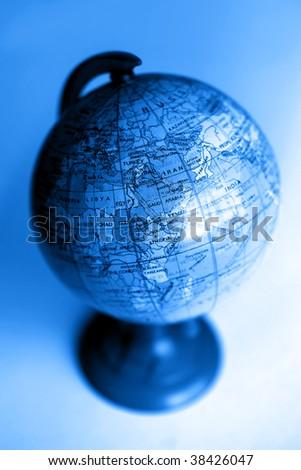 close up shot of a plastic globe - stock photo
