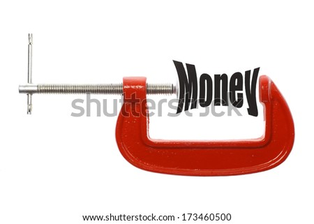 "Close up shot of a red vice and the word ""Money"" - stock photo"