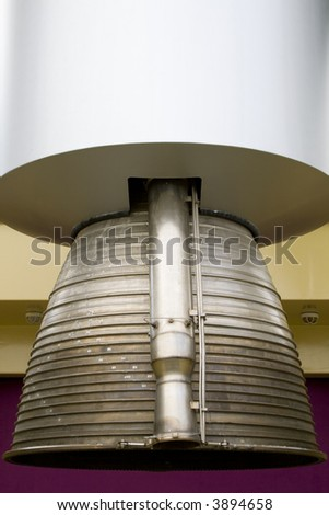 Close up shot of a rocket engine. Vertical shot. - stock photo
