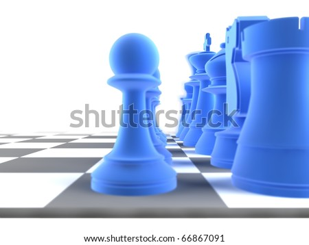 Close up shot of a set of blue chess pieces, with a depth of field - stock photo