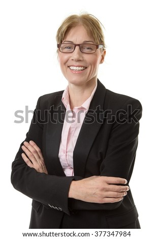 Close up shot of a smart office worker in a suit jacket, wearing glasses with her arms folded,  isolated on white. - stock photo