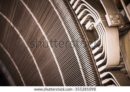 Close-up shot of a stator from a big electric motor.