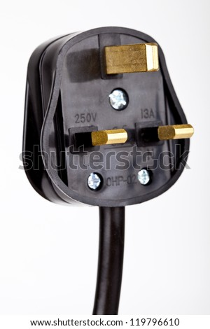 Close-up shot of a UK plug over a white background. - stock photo