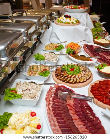 Close up shot of a wedding buffet table. Shallow focus - stock photo