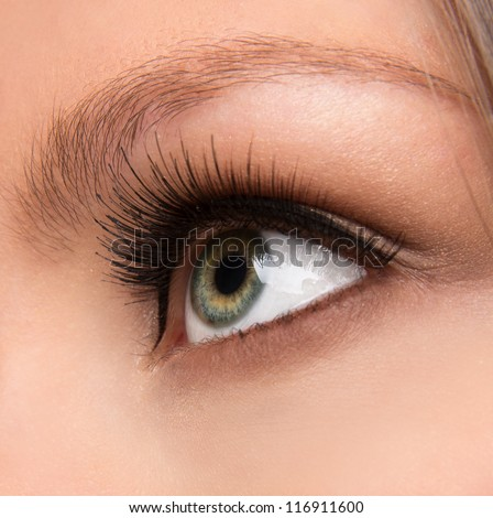 Close up shot of a woman's eye with long lashes - stock photo