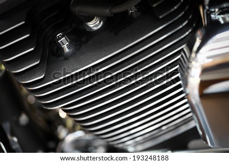 Close-up shot of an air-cooled motorcycle engine - stock photo