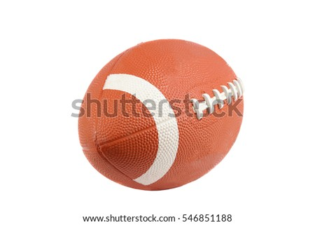 Close up shot of an american football isolated on white