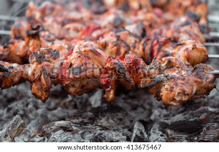 Close up shot of appetizing hot shish kebab with tomatoes on metal skewers prepares on the coals outdoors. Grilling shashlik on barbecue grill.