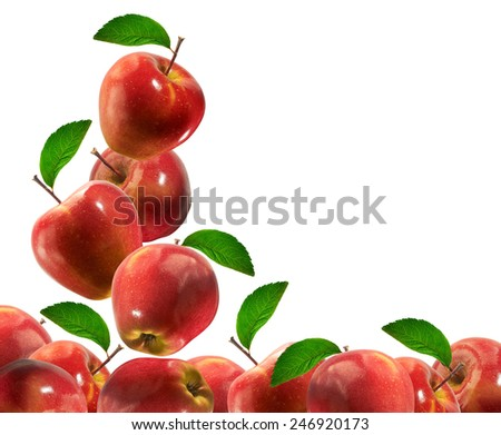 Close Up Shot Of Beautiful Red Apples/ Horizontal Shot/ Lots Of Copy Space