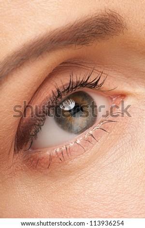 Close-up shot of beautiful woman eye with makeup - stock photo