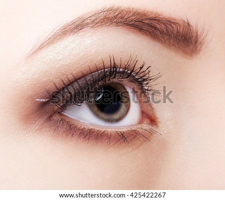 Close-up shot of beautiful young woman eye with day  make up
