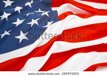 Close up shot of big US flag - stock photo