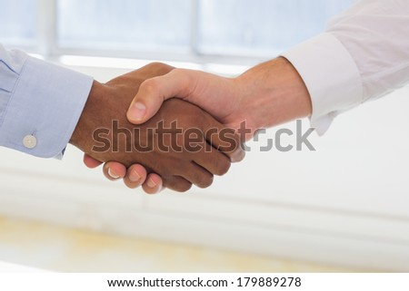 Close-up shot of businessmen shaking hands in the office - stock photo