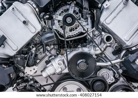 Close up shot of car engine - stock photo