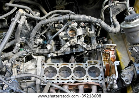 Close up shot of car engine reparation