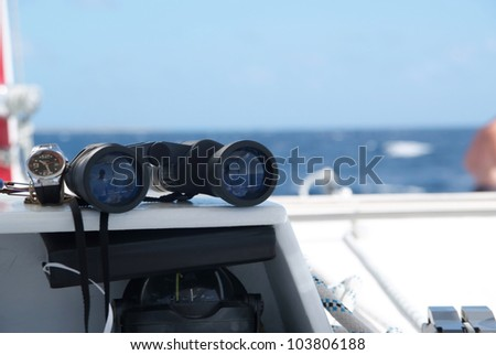 Close up shot of catamaran sailing equipment - stock photo
