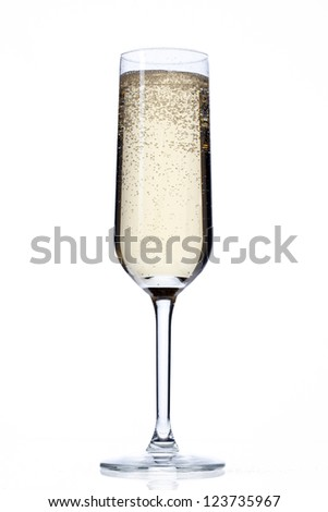 Close-up shot of champagne flute full of alcoholic drink and beverage over plain white background.