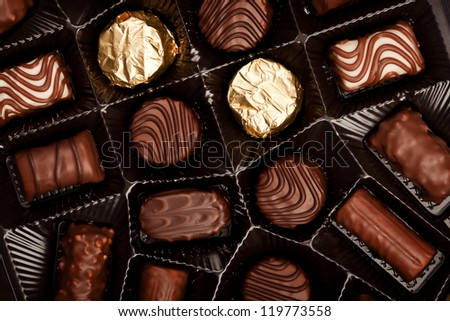 Close up shot of chocolates box - stock photo